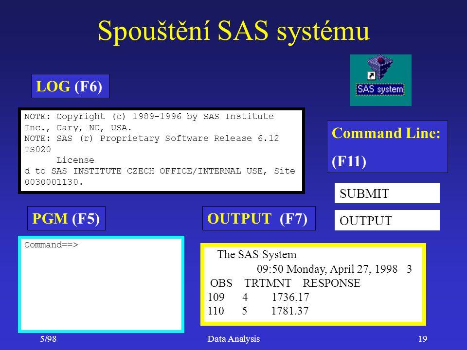 Spouštění SAS systému LOG (F6) Command Line: (F11) PGM (F5)