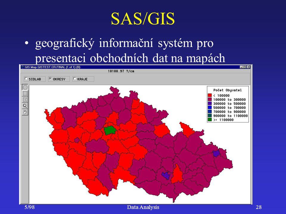 SAS/GIS geografický informační systém pro presentaci obchodních dat na mapách 5/98 Data Analysis