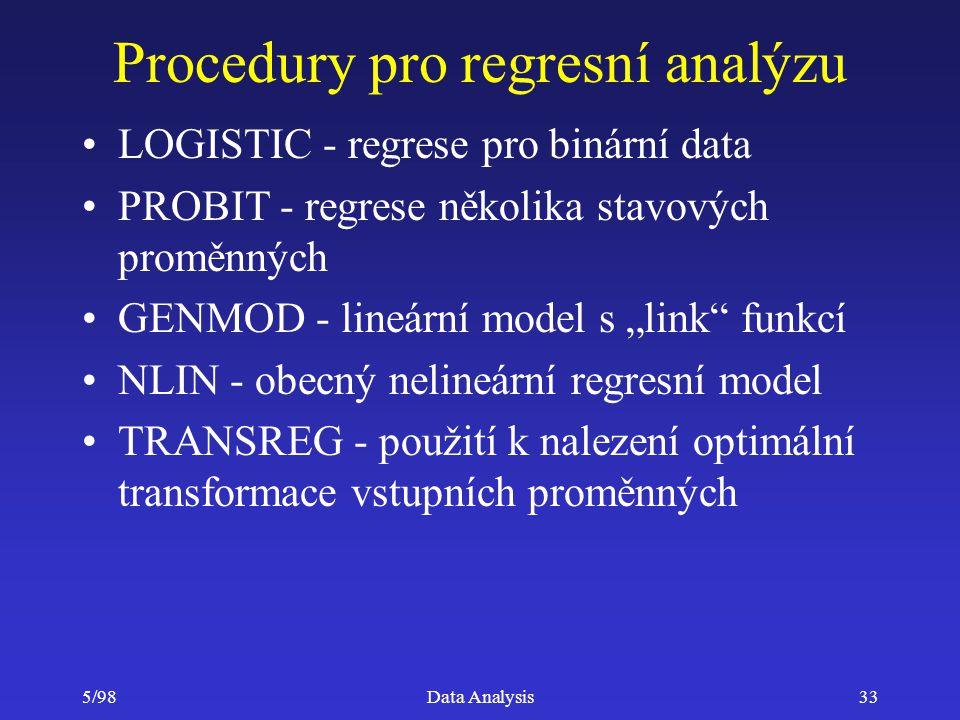 Procedury pro regresní analýzu