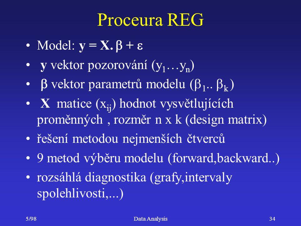 Proceura REG Model: y = X. b + e y vektor pozorování (y1…yn)