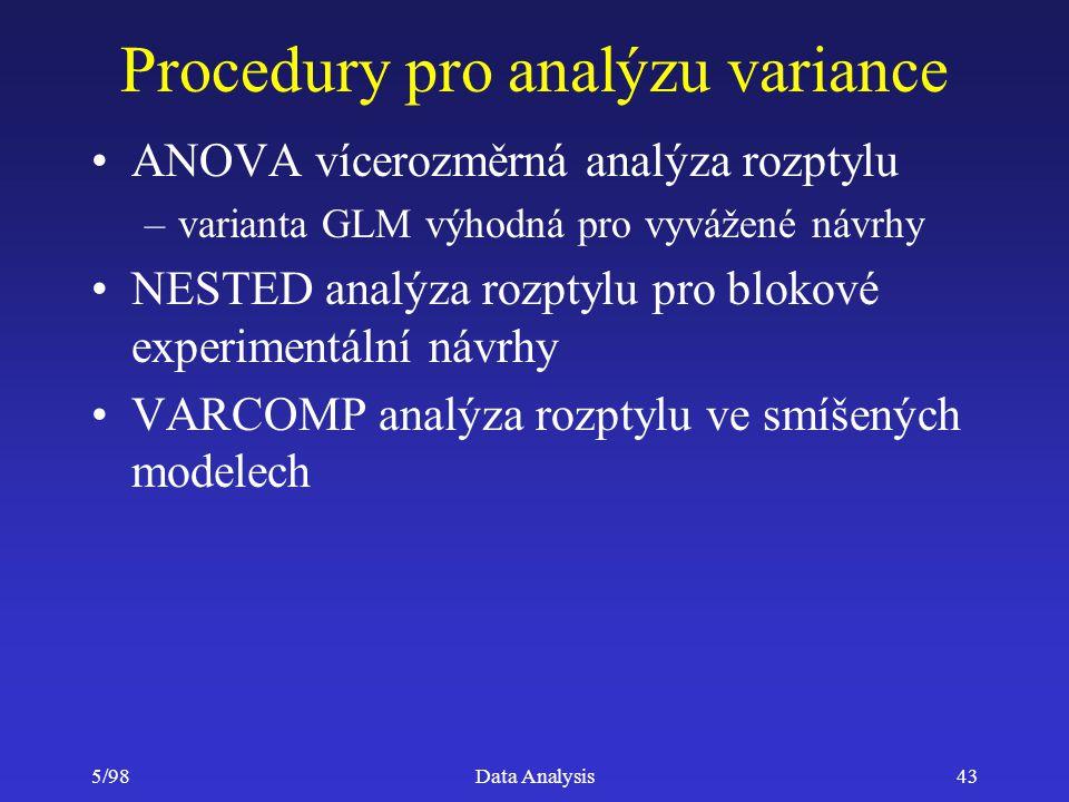 Procedury pro analýzu variance