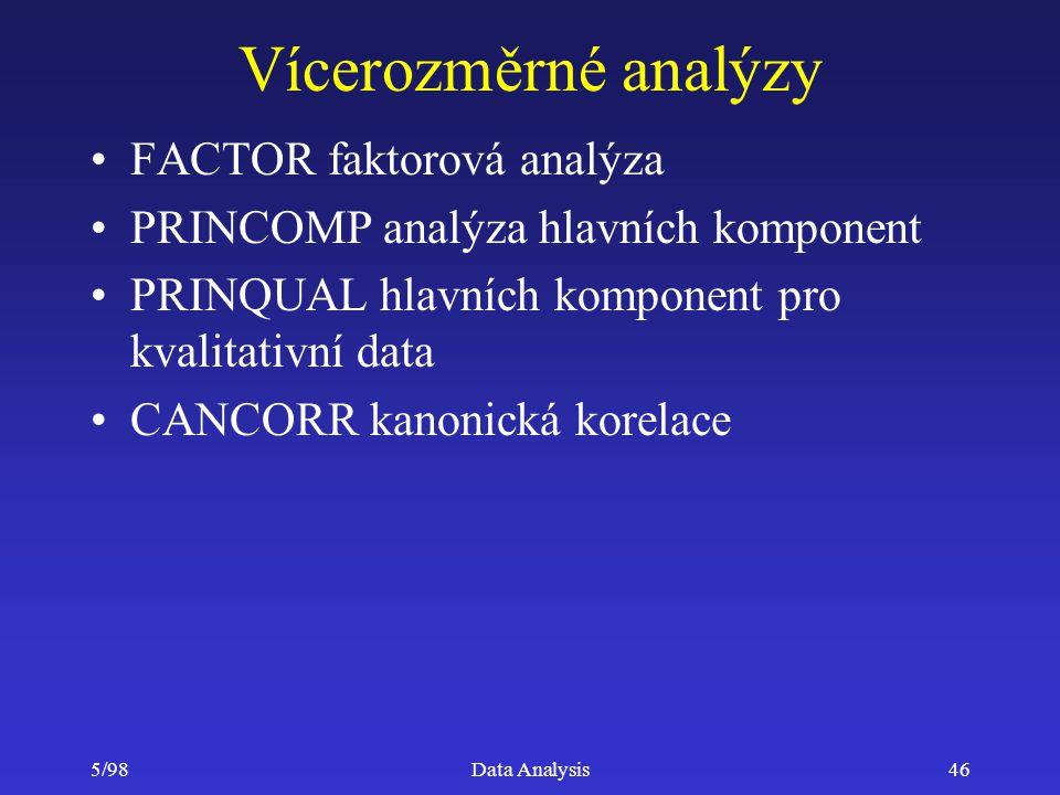 Vícerozměrné analýzy FACTOR faktorová analýza