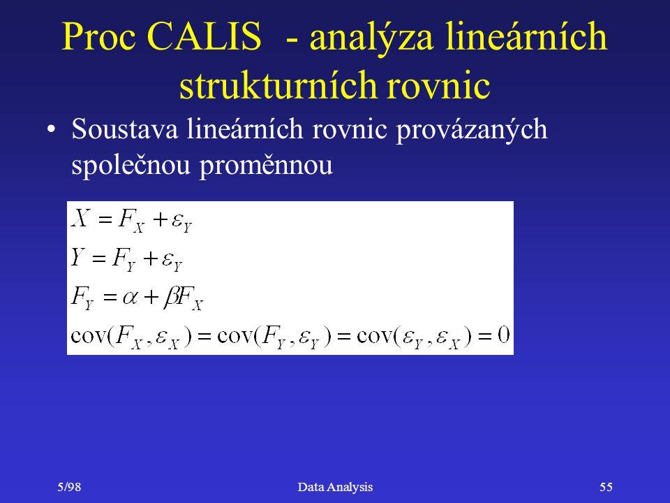 Proc CALIS - analýza lineárních strukturních rovnic
