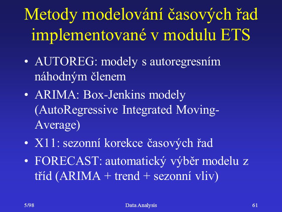 Metody modelování časových řad implementované v modulu ETS