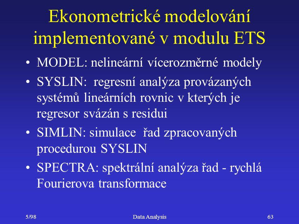 Ekonometrické modelování implementované v modulu ETS