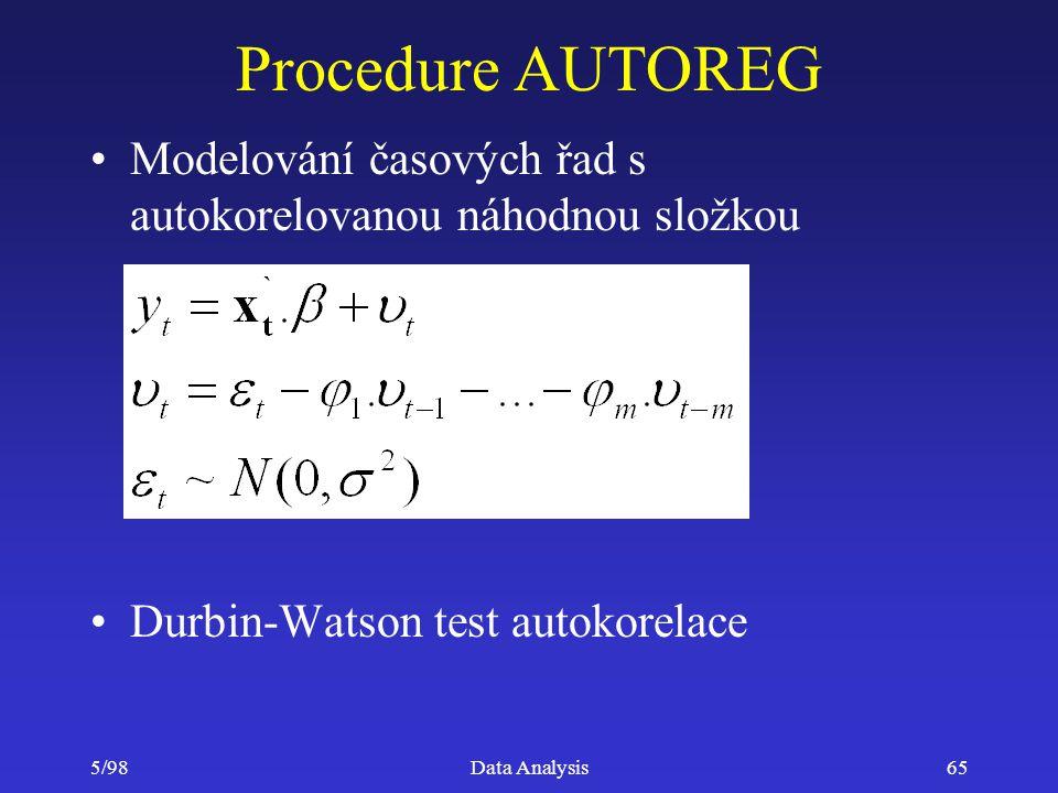 Procedure AUTOREG Modelování časových řad s autokorelovanou náhodnou složkou. Durbin-Watson test autokorelace.