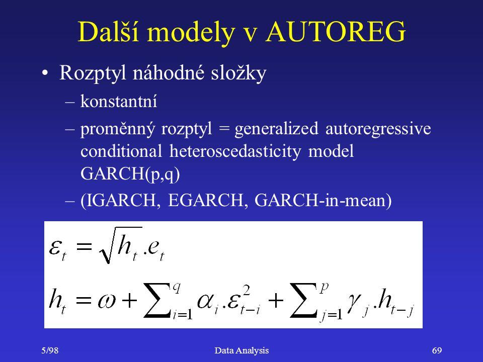 Další modely v AUTOREG Rozptyl náhodné složky konstantní