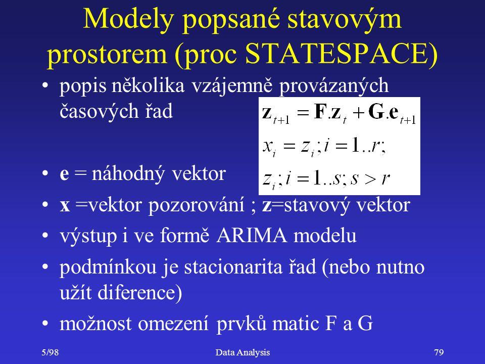 Modely popsané stavovým prostorem (proc STATESPACE)
