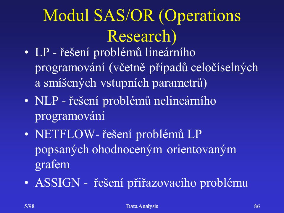 Modul SAS/OR (Operations Research)