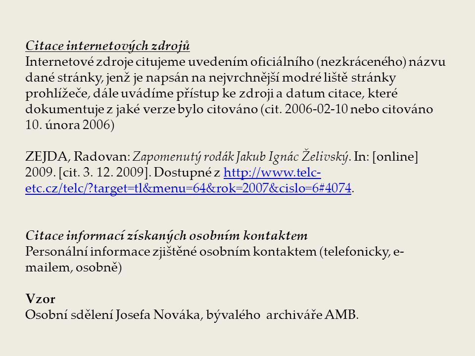 Citace internetových zdrojů