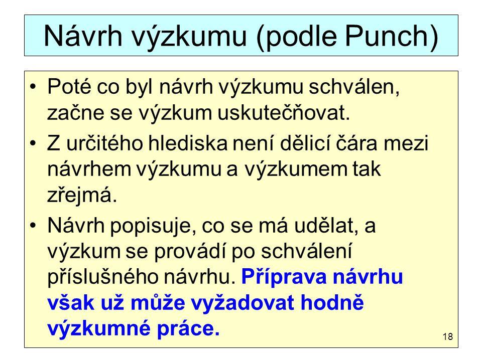 Návrh výzkumu (podle Punch)