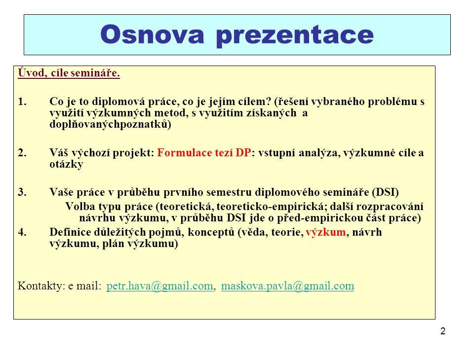 Osnova prezentace Úvod, cíle semináře.