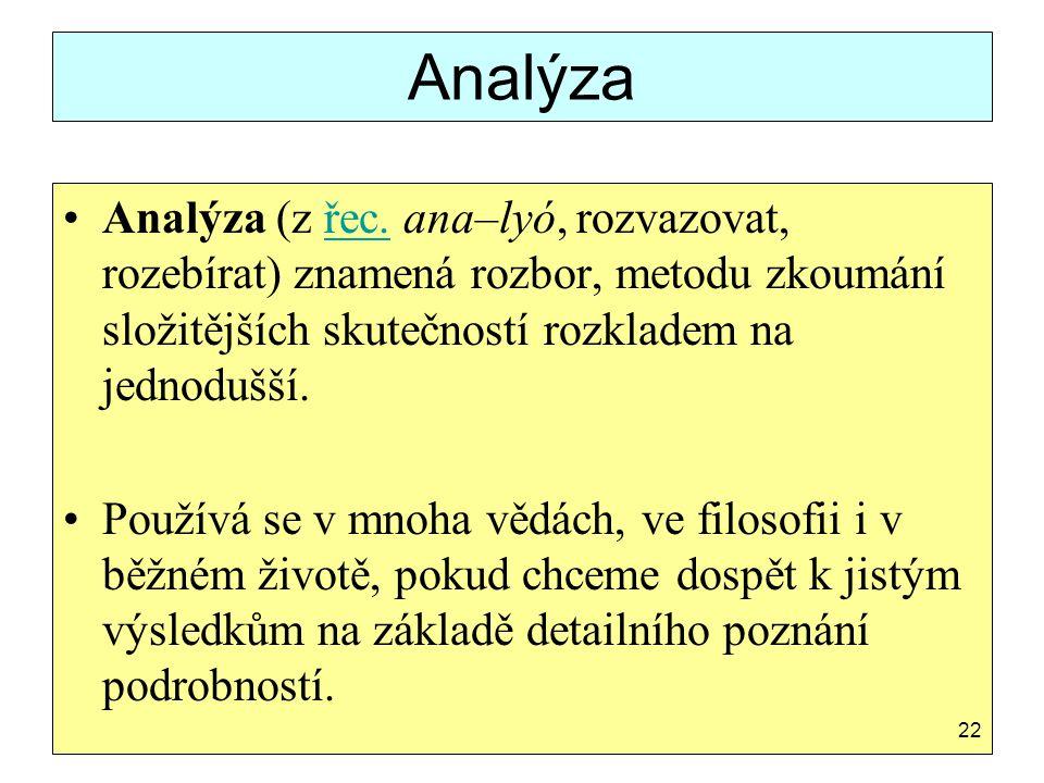 Analýza Analýza (z řec. ana–lyó, rozvazovat, rozebírat) znamená rozbor, metodu zkoumání složitějších skutečností rozkladem na jednodušší.