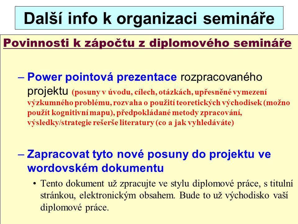Další info k organizaci semináře