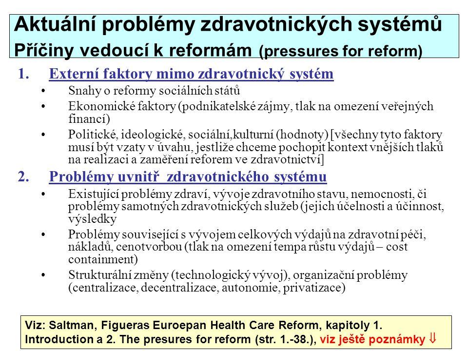 Aktuální problémy zdravotnických systémů Příčiny vedoucí k reformám (pressures for reform)