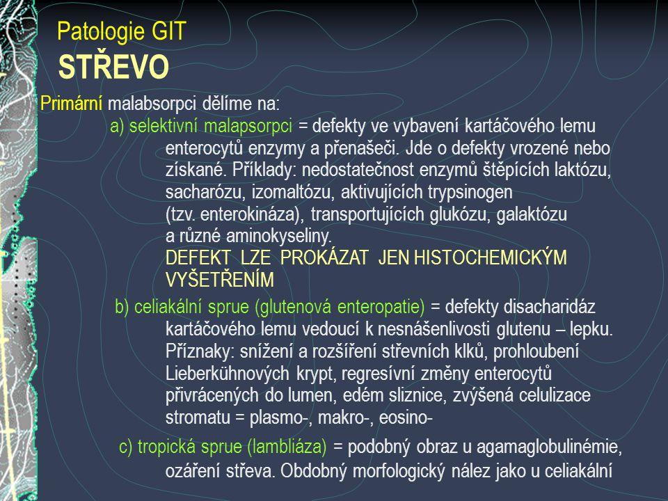 STŘEVO Patologie GIT Primární malabsorpci dělíme na: