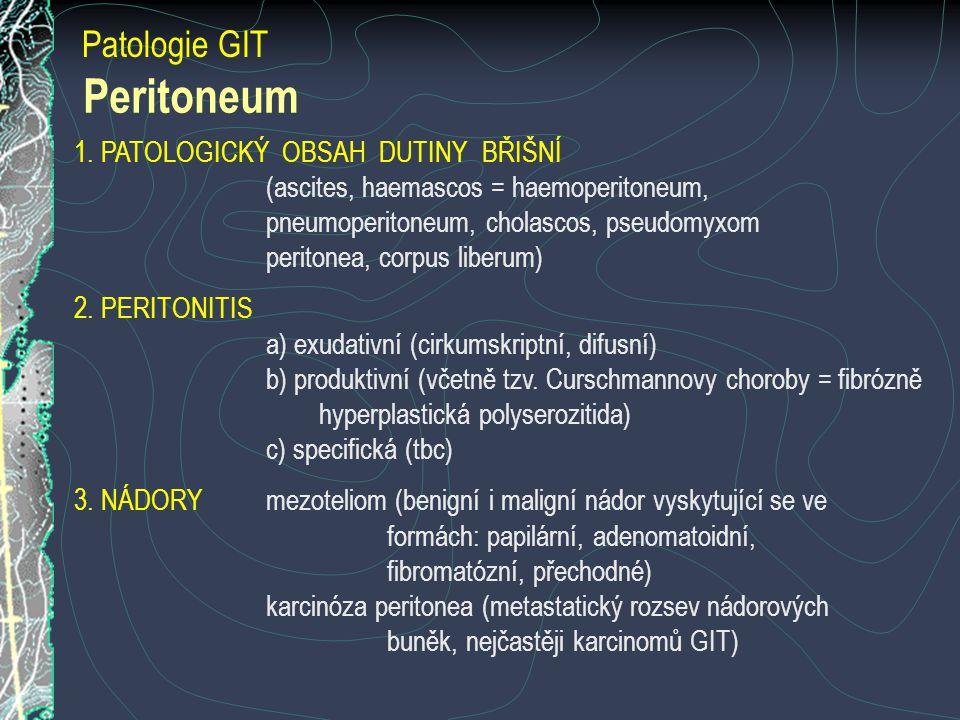 Peritoneum Patologie GIT 1. PATOLOGICKÝ OBSAH DUTINY BŘIŠNÍ