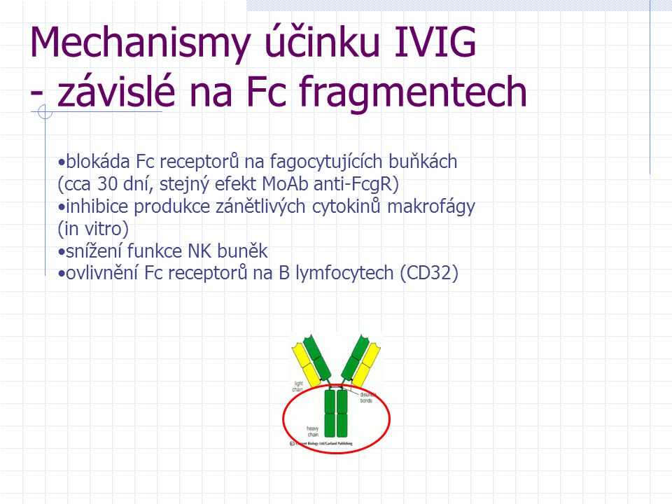 Mechanismy účinku IVIG - závislé na Fc fragmentech