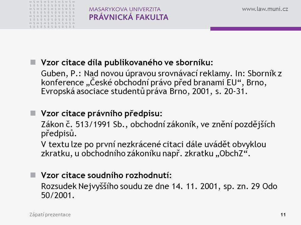 Vzor citace díla publikovaného ve sborníku: