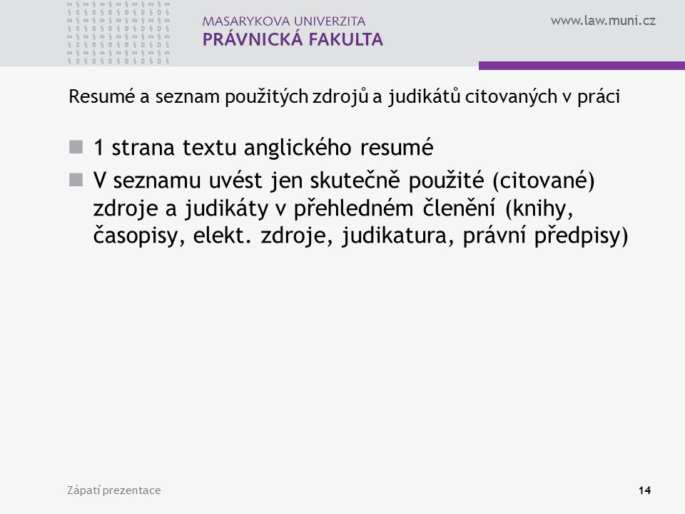 Resumé a seznam použitých zdrojů a judikátů citovaných v práci