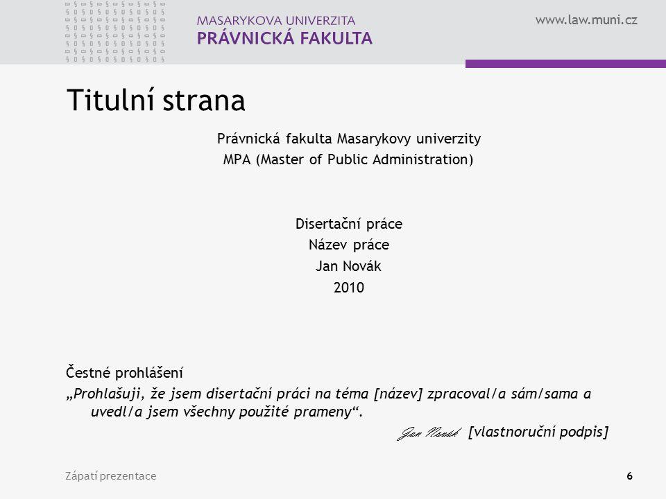 Titulní strana Právnická fakulta Masarykovy univerzity