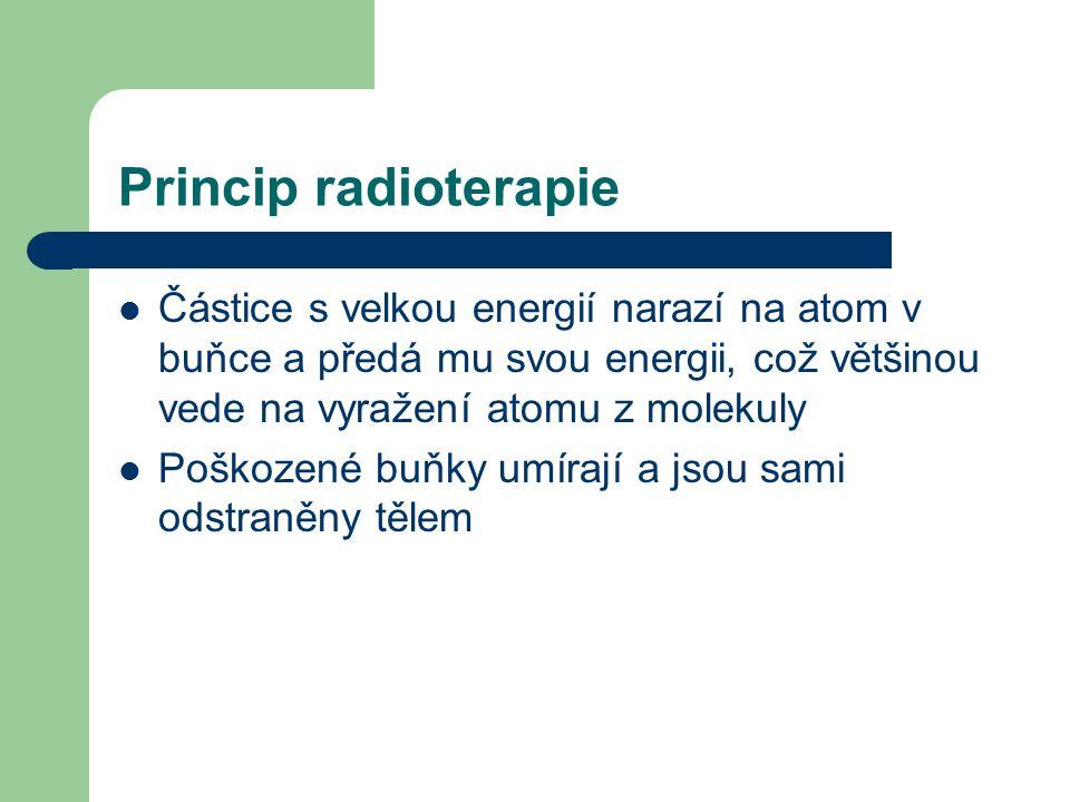 Princip radioterapie Částice s velkou energií narazí na atom v buňce a předá mu svou energii, což většinou vede na vyražení atomu z molekuly.