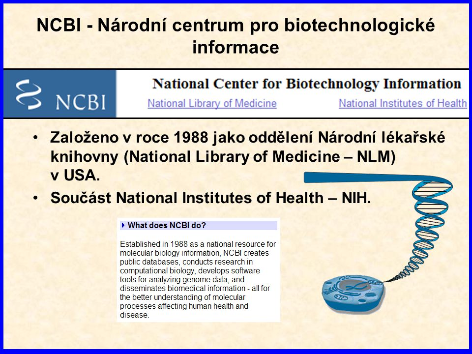 NCBI - Národní centrum pro biotechnologické informace