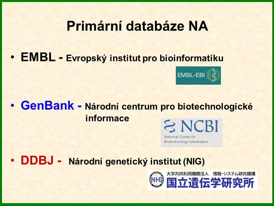 Primární databáze NA EMBL - Evropský institut pro bioinformatiku