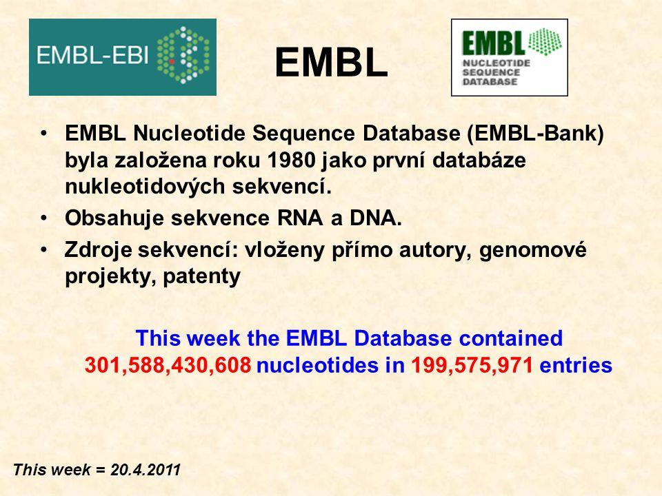 EMBL EMBL Nucleotide Sequence Database (EMBL-Bank) byla založena roku 1980 jako první databáze nukleotidových sekvencí.