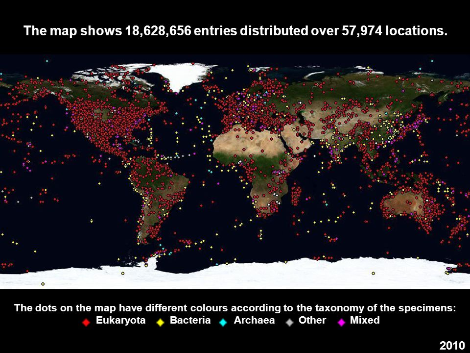 The map shows 18,628,656 entries distributed over 57,974 locations.