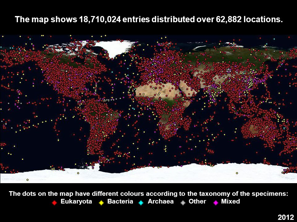 The map shows 18,710,024 entries distributed over 62,882 locations.