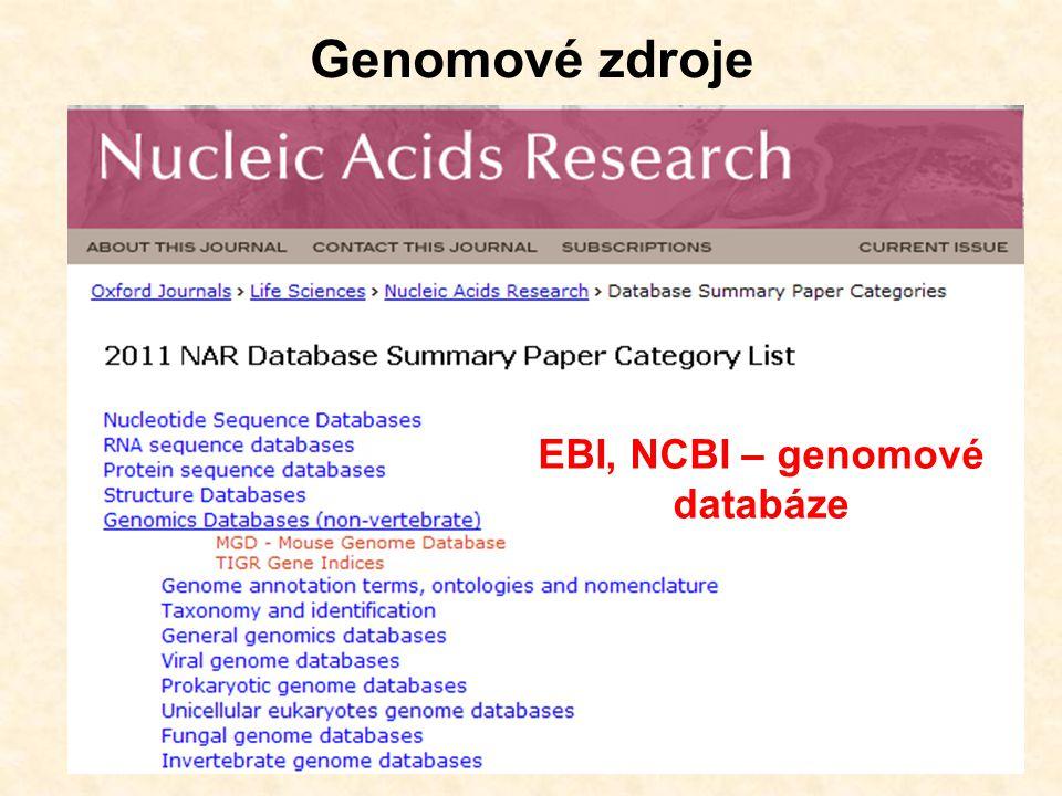 EBI, NCBI – genomové databáze