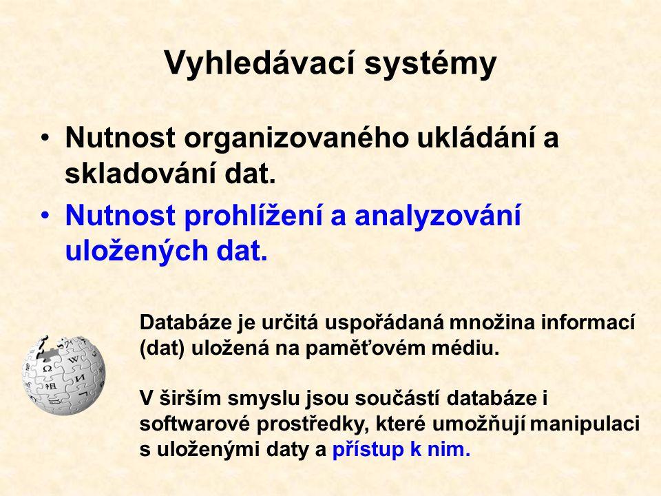 Vyhledávací systémy Nutnost organizovaného ukládání a skladování dat.