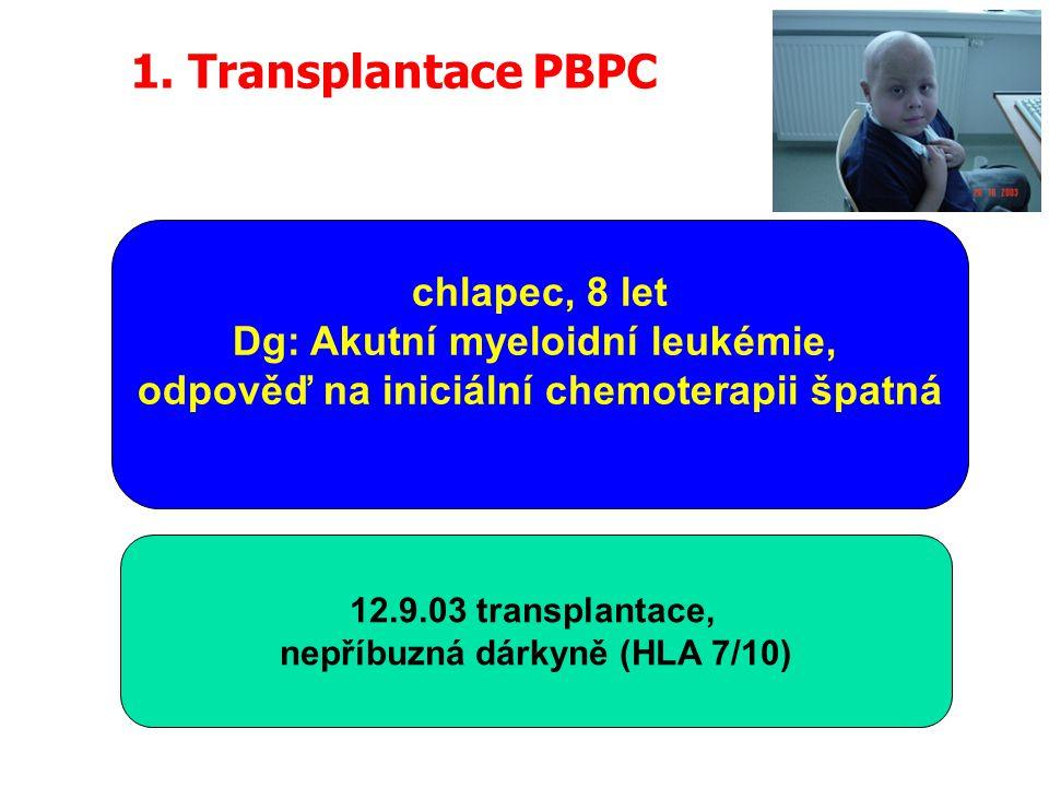 1. Transplantace PBPC chlapec, 8 let Dg: Akutní myeloidní leukémie,