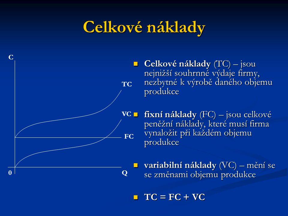 Celkové náklady C. Celkové náklady (TC) – jsou nejnižší souhrnné výdaje firmy, nezbytné k výrobě daného objemu produkce.