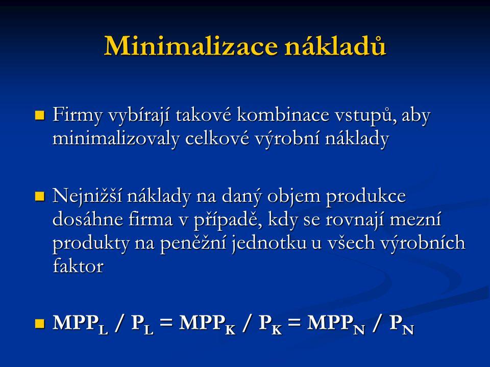 Minimalizace nákladů Firmy vybírají takové kombinace vstupů, aby minimalizovaly celkové výrobní náklady.