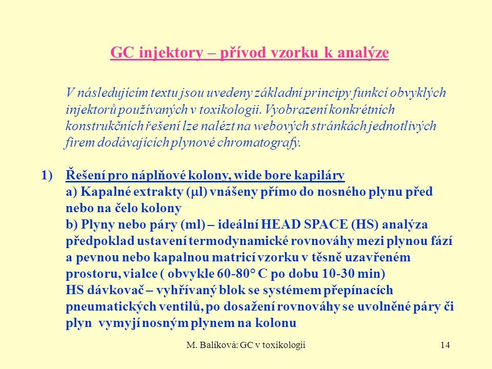 GC injektory – přívod vzorku k analýze