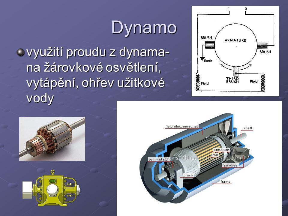 Dynamo využití proudu z dynama- na žárovkové osvětlení, vytápění, ohřev užitkové vody