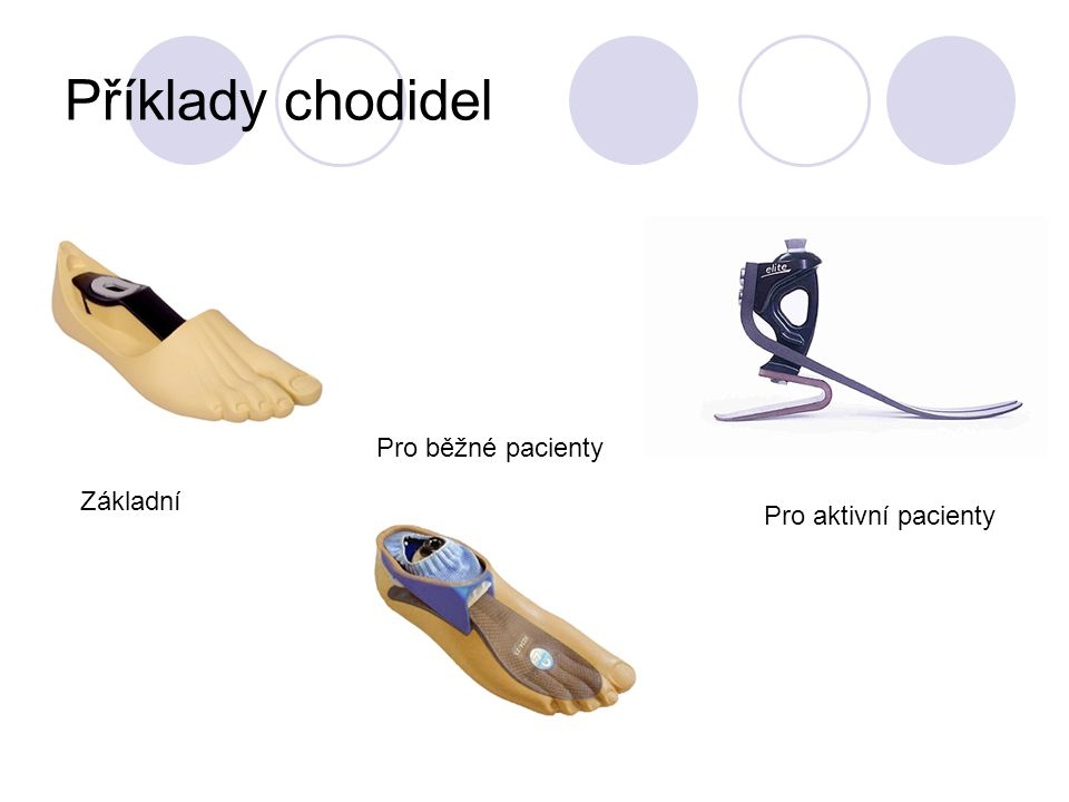 Příklady chodidel Pro běžné pacienty Základní Pro aktivní pacienty
