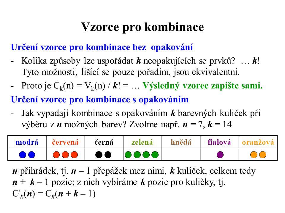 Vzorce pro kombinace Určení vzorce pro kombinace bez opakování