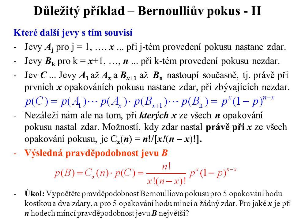 Důležitý příklad – Bernoulliův pokus - II
