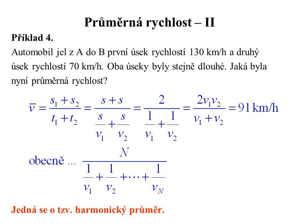 Průměrná rychlost – II Příklad 4.
