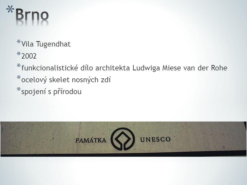 Brno Vila Tugendhat. 2002. funkcionalistické dílo architekta Ludwiga Miese van der Rohe. ocelový skelet nosných zdí.