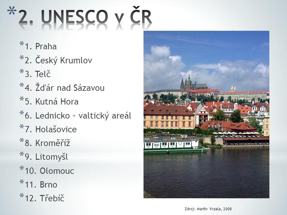2. UNESCO v ČR 1. Praha 2. Český Krumlov 3. Telč 4. Žďár nad Sázavou