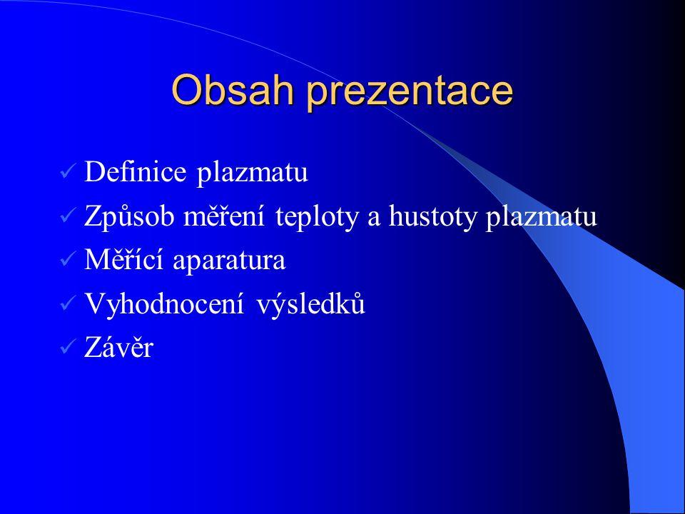 Obsah prezentace Definice plazmatu
