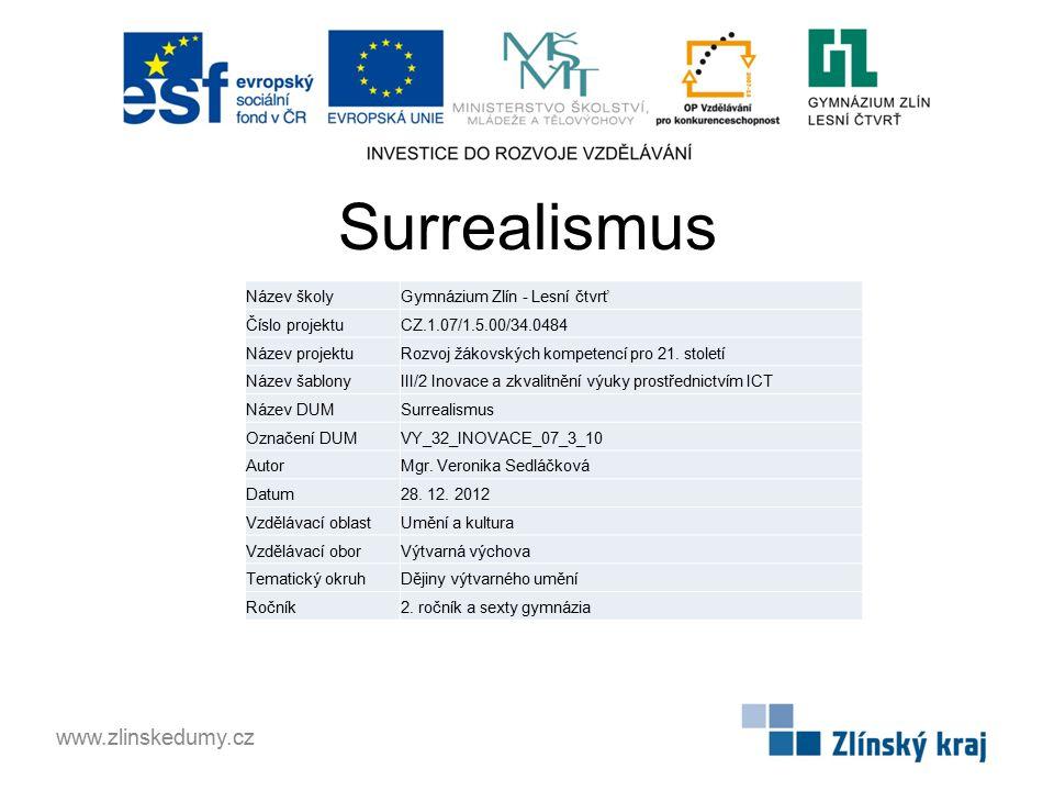 Surrealismus www.zlinskedumy.cz Název školy