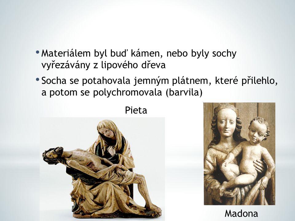 Materiálem byl buď kámen, nebo byly sochy vyřezávány z lipového dřeva