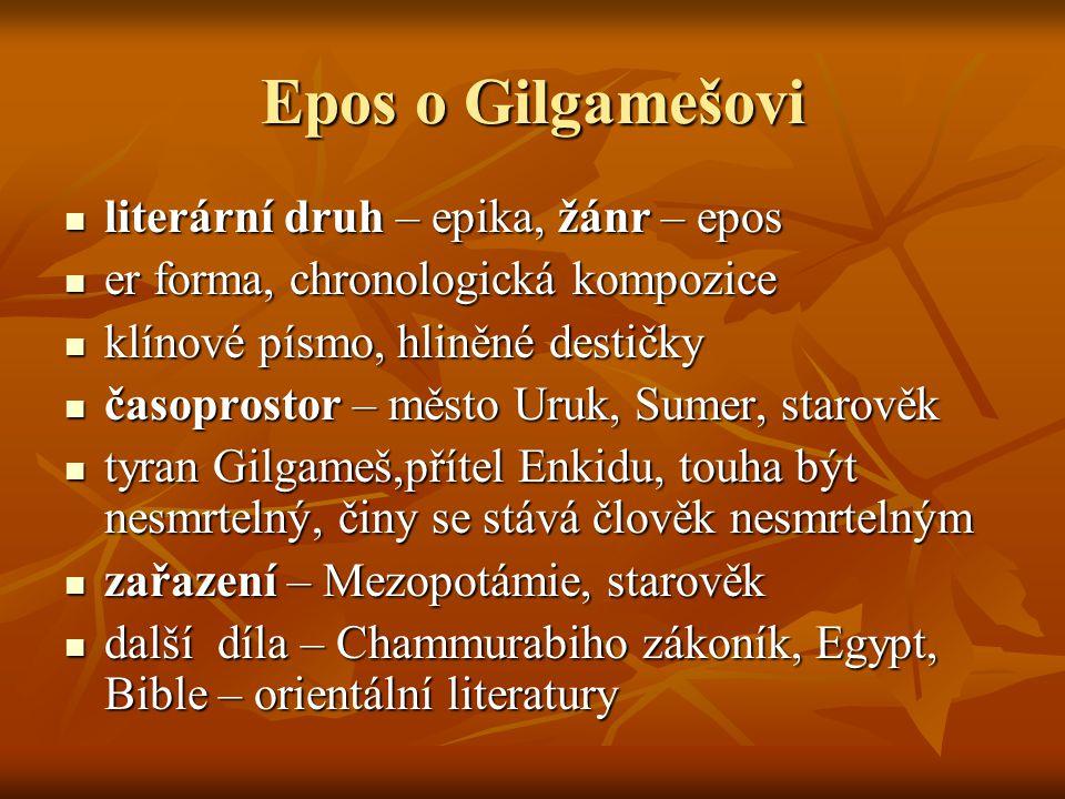 Epos o Gilgamešovi literární druh – epika, žánr – epos