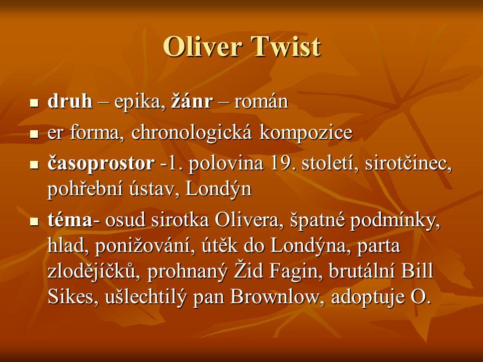 Oliver Twist druh – epika, žánr – román