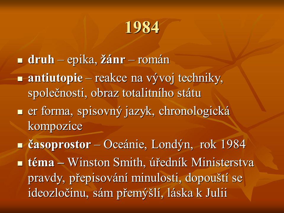 1984 druh – epika, žánr – román